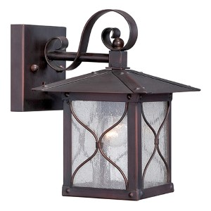 Vega Classic Bronze One-Light 7-Inch Wide Outdoor Wall Sconce with Clear Seeded Glass