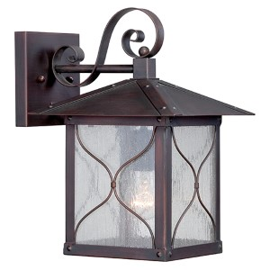 Vega Classic Bronze One-Light 9-Inch Wide Outdoor Wall Sconce with Clear Seeded Glass