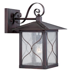 Vega Classic Bronze One-Light 11-Inch Wide Outdoor Wall Sconce with Clear Seeded Glass
