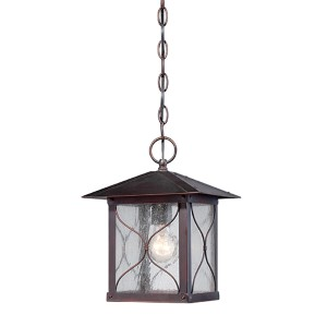 Vega Classic Bronze One-Light Outdoor Lantern Pendant with Clear Seeded Glass