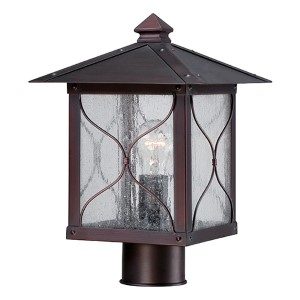 Vega Classic Bronze One-Light Outdoor Post Lantern with Clear Seeded Glass