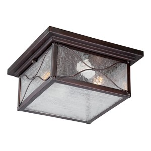 Vega Classic Bronze Two-Light Outdoor Flush Mount with Clear Seeded Glass