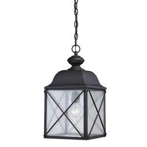 Wingate Textured Black One-Light Outdoor Lantern Pendant with Clear Seeded Glass