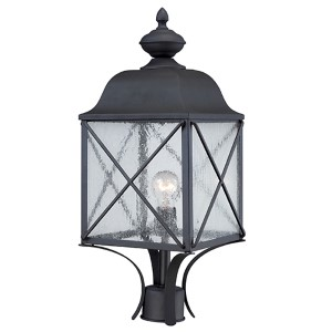 Wingate Textured Black One-Light Outdoor Post Lantern with Clear Seeded Glass