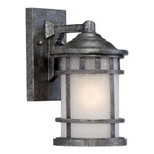 Manor Aged Silver One-Light 7-Inch Wide Outdoor Wall Sconce with Frosted Seed Glass