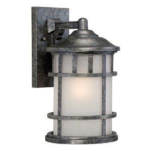 Manor Aged Silver One-Light 8-Inch Wide Outdoor Wall Sconce with Frosted Seed Glass