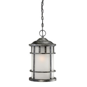 Manor Aged Silver One-Light Outdoor Lantern Pendant with Frosted Seed Glass