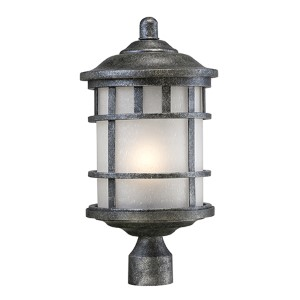 Manor Aged Silver One-Light Outdoor Post Lantern with Frosted Seed Glass