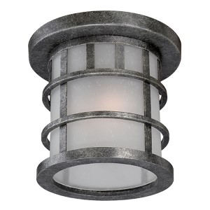 Manor Aged Silver One-Light Outdoor Flush Mount with Frosted Seed Glass