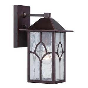 Stanton Claret Bronze One-Light 6-Inch Wide Outdoor Wall Sconce with Clear Seeded Glass