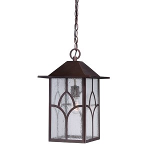 Stanton Claret Bronze One-Light Outdoor Lantern Pendant with Clear Seeded Glass