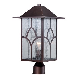 Stanton Claret Bronze One-Light Outdoor Post Lantern with Clear Seeded Glass