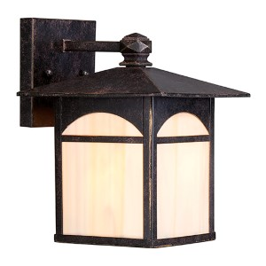 Canyon Umber Bronze One-Light 7-Inch Wide Outdoor Wall Sconce with Honey Stained Glass