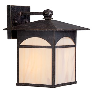 Canyon Umber Bronze One-Light 9-Inch Wide Outdoor Wall Sconce with Honey Stained Glass