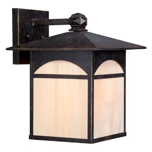 Canyon Umber Bronze One-Light 11-Inch Wide Outdoor Wall Sconce with Honey Stained Glass