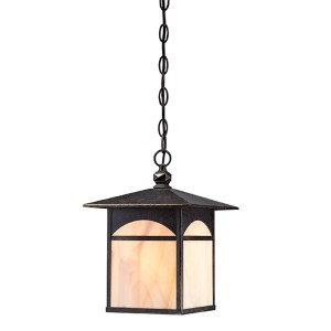 Canyon Umber Bronze One-Light Outdoor Lantern Pendant with Honey Stained Glass