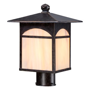 Canyon Umber Bronze One-Light Outdoor Post Lantern with Honey Stained Glass
