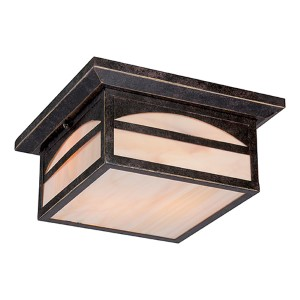 Canyon Umber Bronze Two-Light Outdoor Flush Mount with Honey Stained Glass