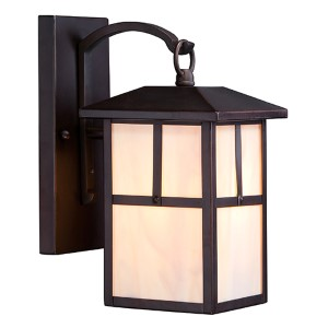 Tanner Claret Bronze One-Light 6-Inch Wide Outdoor Wall Sconce with Honey Stained Glass