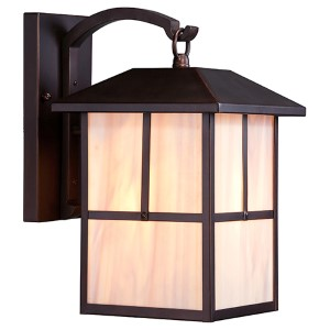 Tanner Claret Bronze One-Light 8-Inch Wide Outdoor Wall Sconce with Honey Stained Glass