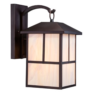Tanner Claret Bronze One-Light 10-Inch Wide Outdoor Wall Sconce with Honey Stained Glass