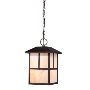 Tanner Claret Bronze One-Light Outdoor Lantern Pendant with Honey Stained Glass
