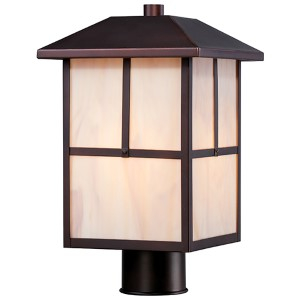 Tanner Claret Bronze One-Light Outdoor Post Lantern with Honey Stained Glass