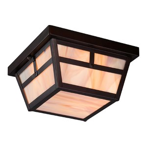 Tanner Claret Bronze Two-Light Outdoor Flush Mount with Honey Stained Glass