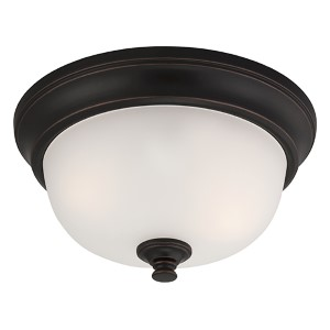 Elizabeth Sudbury Bronze Two-Light Flush Mount with Frosted Glass