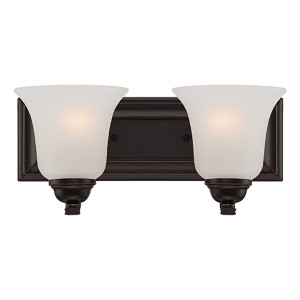 Elizabeth Sudbury Bronze Two-Light Bath Vanity with Frosted Glass