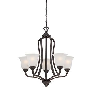 Elizabeth Sudbury Bronze Five-Light Chandelier with Frosted Glass