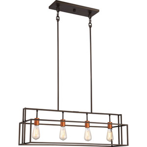 Lake Bronze with Copper Accents Four-Light Island Pendant
