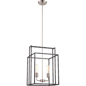 Lake Iron Black with Brushed Nickel Accents Two-Light Square Pendant