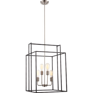 Lake Iron Black with Brushed Nickel Accents Four-Light Square Pendant