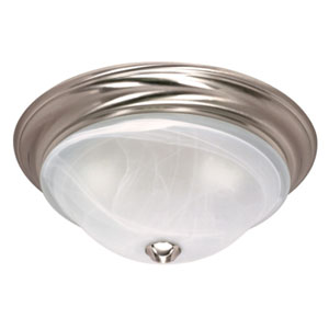 Triumph Brushed Nickel One-Light Flush Mount with Sculptured Alabaster Glass
