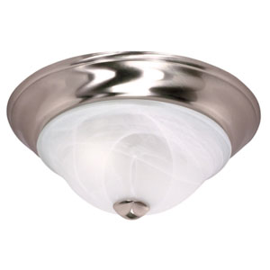Triumph Brushed Nickel Two-Light Flush Mount with Sculptured Alabaster Glass