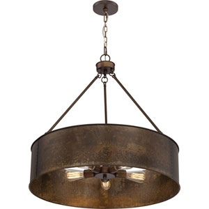 Kettle Weathered Brass Oversized Three-Light Pendant
