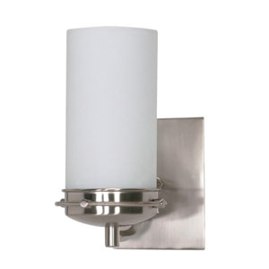 Polaris Brushed Nickel One-Light Bath Fixture with Opal White Glass