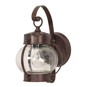 Old Bronze One-Light Outdoor Wall Mount with Clear Seed Glass