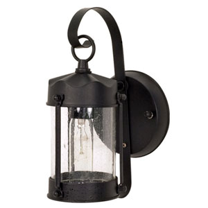 Textured Black One-Light Outdoor Wall Mount with Clear Seed Glass
