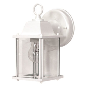 White One-Light Outdoor Wall Mount with Clear Beveled Glass