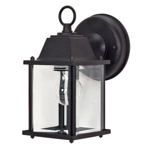 Textured Black One-Light Outdoor Wall Mount with Clear Beveled Glass