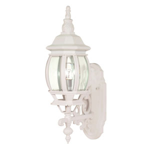 Central Park White One-Light Outdoor Wall Mount with Clear Beveled Glass Panels