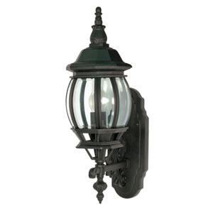 Central Park Textured Black One-Light Outdoor Wall Mount with Clear Beveled Glass Panels