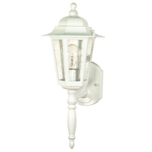 Cornerstone White One-Light Outdoor Wall Mount with Clear Seed Glass