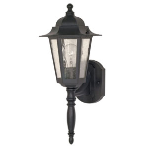 Cornerstone Textured Black One-Light Outdoor Wall Mount with Clear Seed Glass