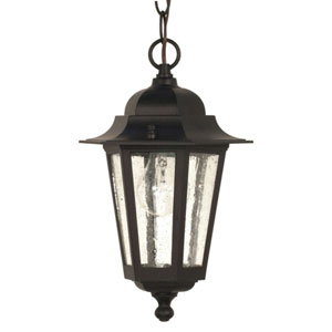 Cornerstone Textured Black One-Light Outdoor Pendant with Clear Seed Glass