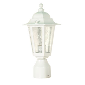 Cornerstone White One-Light Outdoor Post Mount with Clear Seed Glass