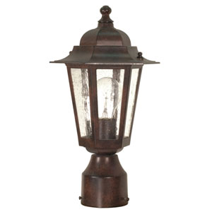 Cornerstone Old Bronze One-Light Outdoor Post Mount with Clear Seed Glass