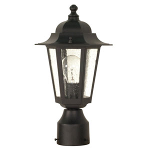 Cornerstone Textured Black One-Light Outdoor Post Mount with Clear Seed Glass